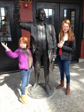 Posing with Samuel Adams